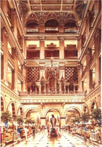 The Grand Court at Wanamaker's department store. No flags can be seen in this picture.